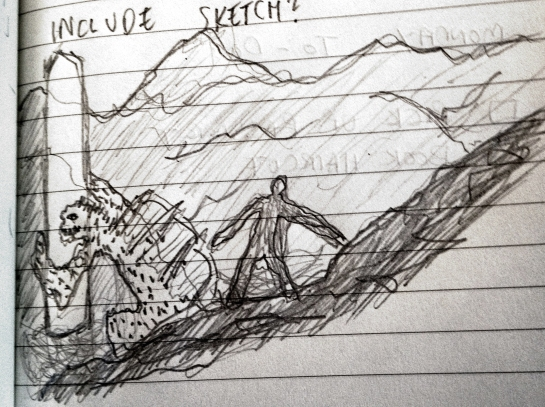 A very quick sketch to visualise the key scene. Working on a follow up.