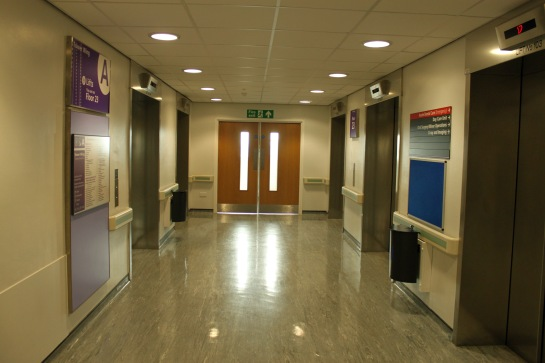 Floor upon floor of near identical lobbies where patients, doctors and students wait for lifts.