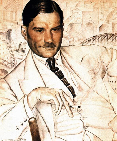 A portrait of Yevgeny Zamyatin, 1923 by Boris Kustodiev